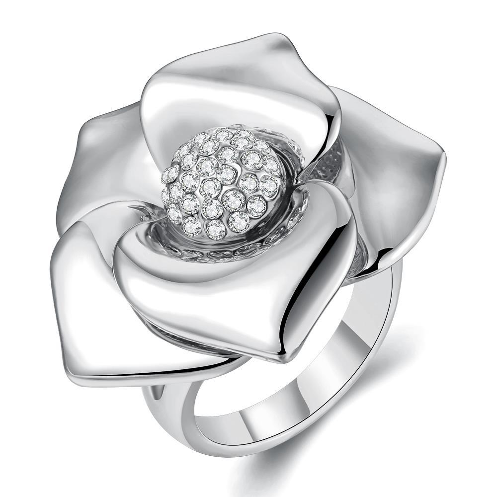 Vienna Jewelry White Gold Plated Blossoming Floral Petal Ring Size 8 - Thumbnail 0