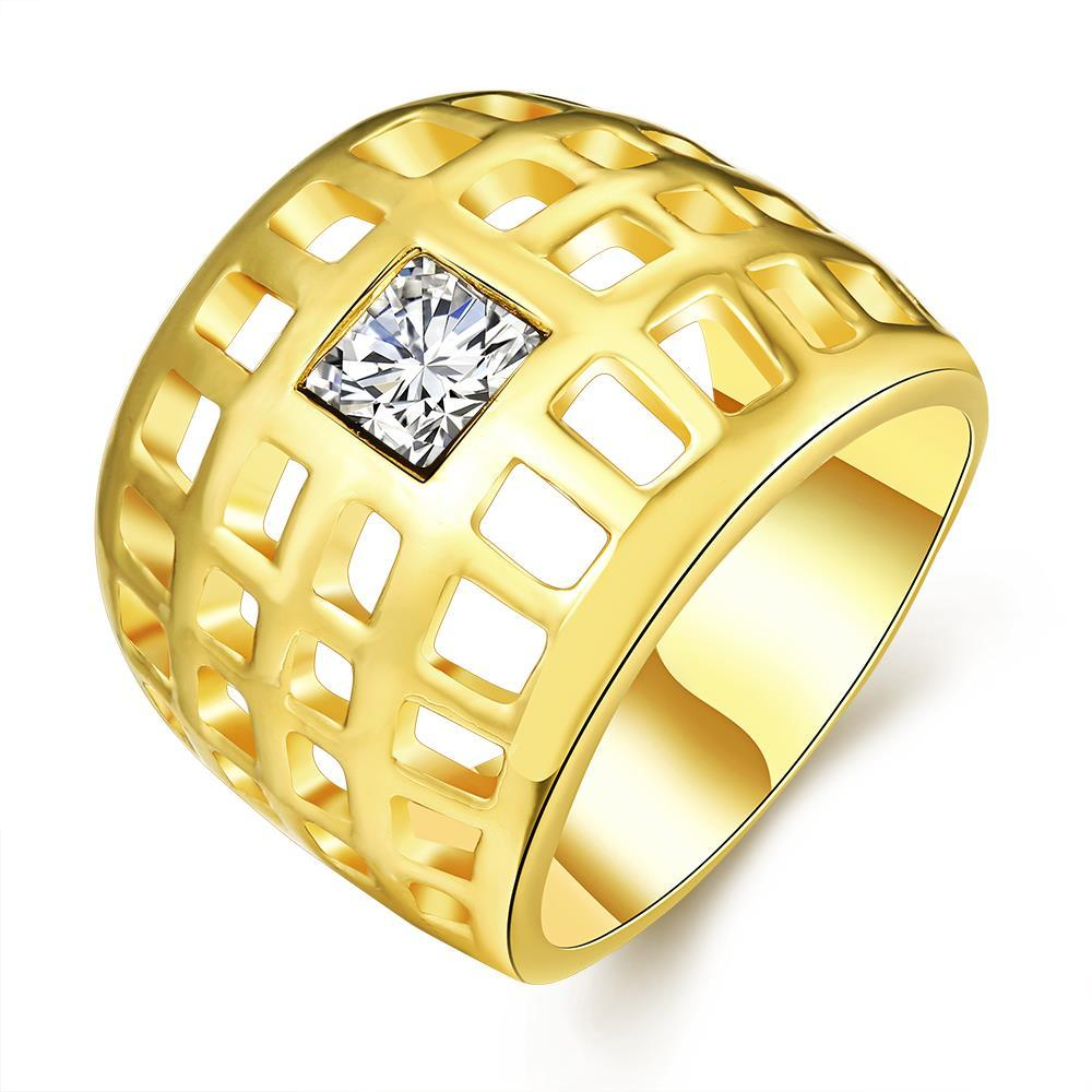 Vienna Jewelry Gold Plated Laser Cut Grid Geo Ring Size 8