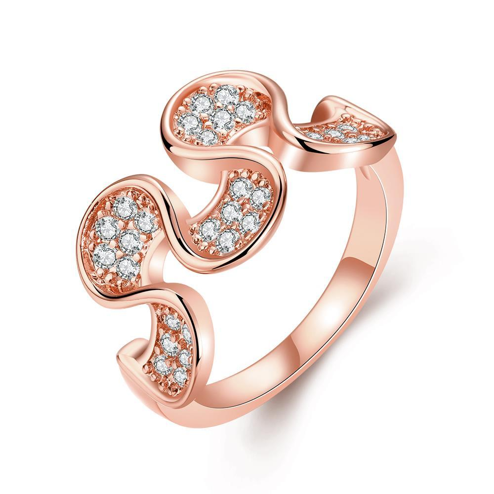 Vienna Jewelry Rose Gold Plated Harp Shaped Ring