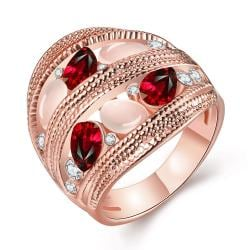 Vienna Jewelry Rose Gold Plated Trio Twisted Grape Vine Line Petite Ruby Ring Size 8 - Thumbnail 0