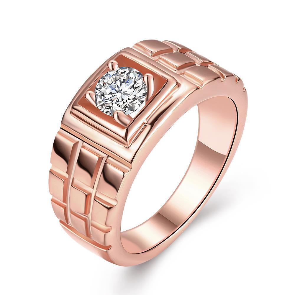 Vienna Jewelry Gold Plated Brick Layered Design Ring