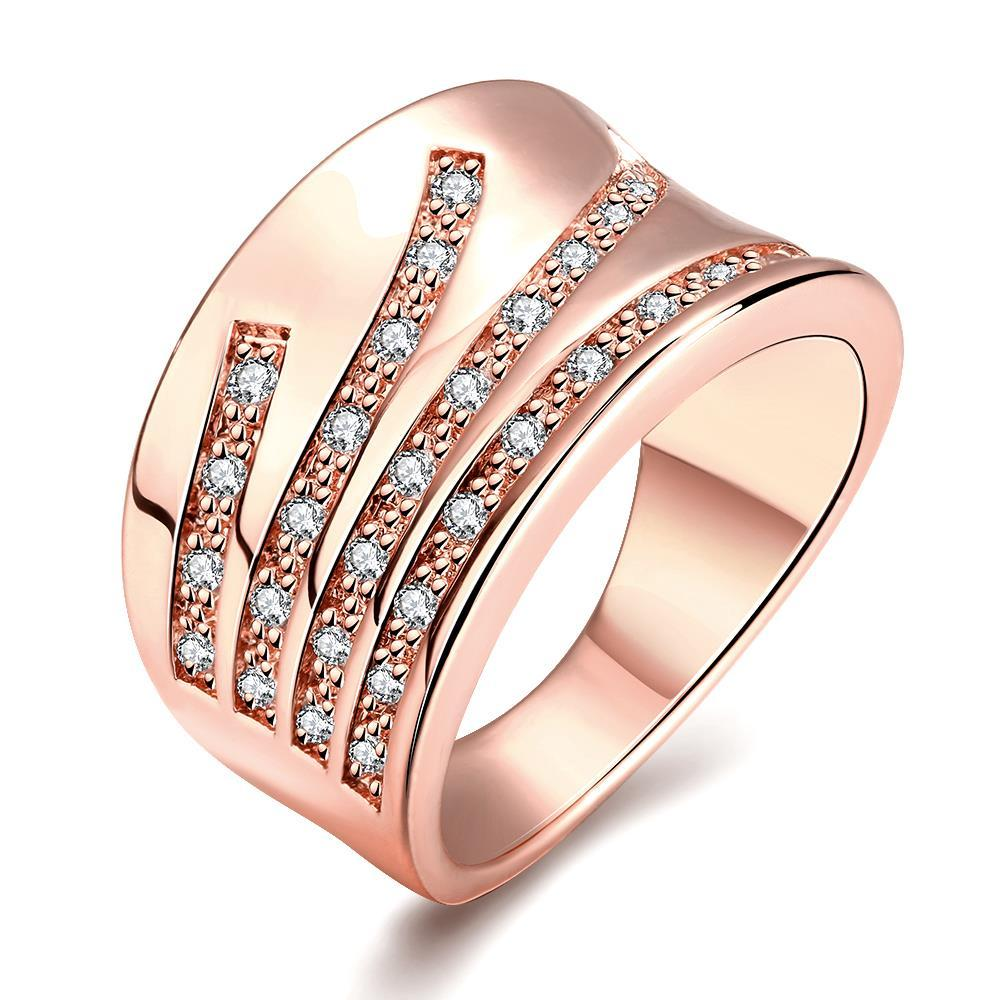 Vienna Jewelry Rose Gold Plated Five Jewels Line Ring