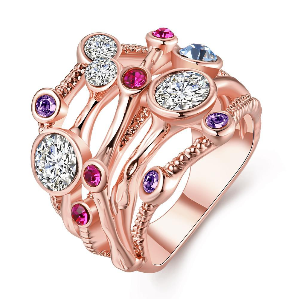 Vienna Jewelry Rose Gold Plated Cotton Candy Lining Ring Size 8