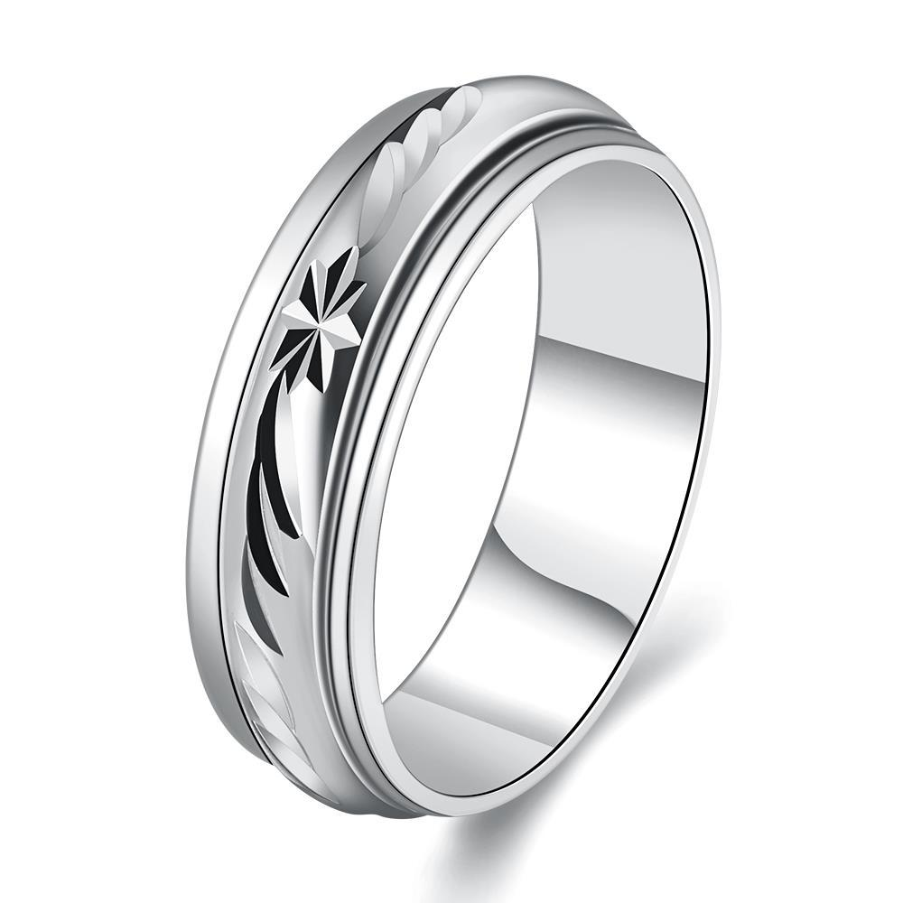 Vienna Jewelry White Gold Plated Roman Signing Emblem Band Ring Size 8