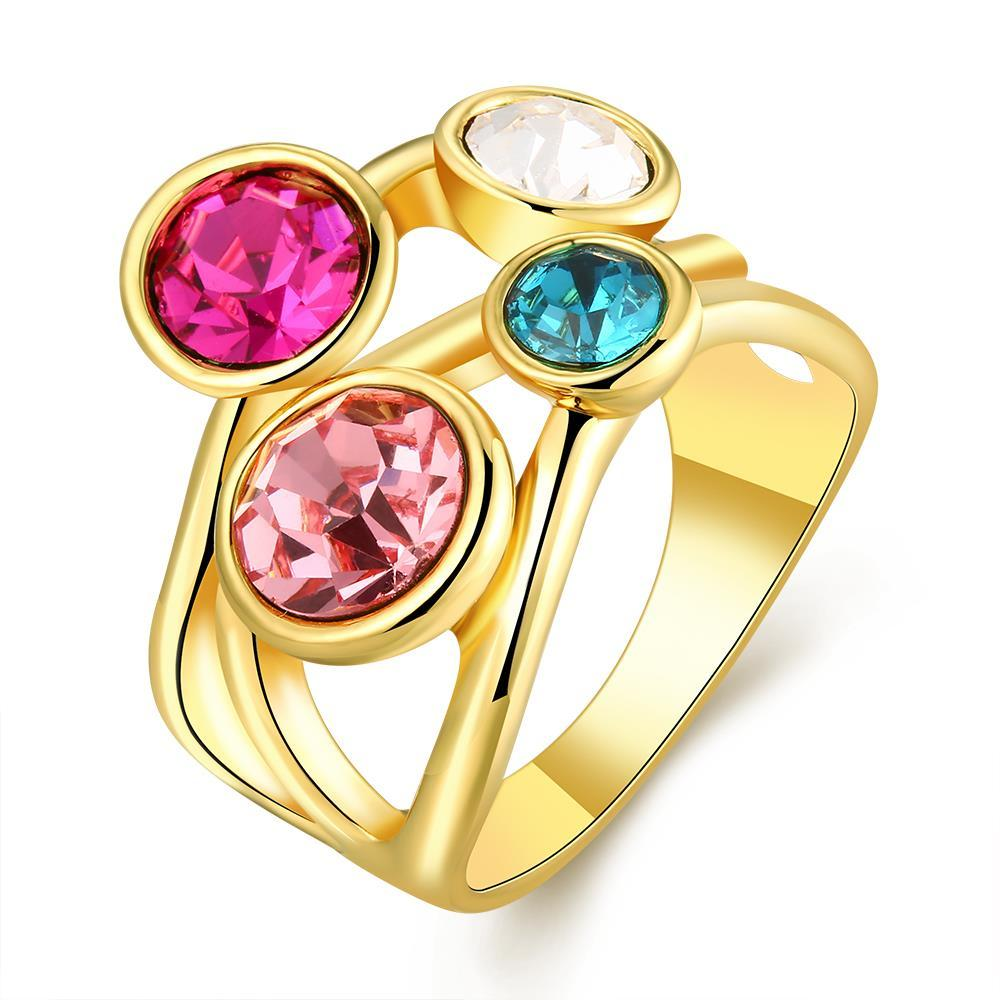 Vienna Jewelry Gold Plated Quad-Rainbow Crystal Jewels Ring Size 8