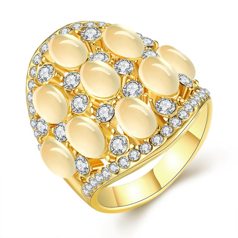 Vienna Jewelry Gold Plated Multi Pearl & Jewels Covering Ring Size 8