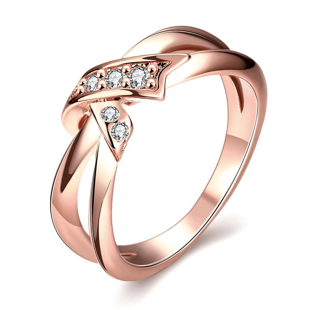 Vienna Jewelry Rose Gold Plated Bow-Tie Ring
