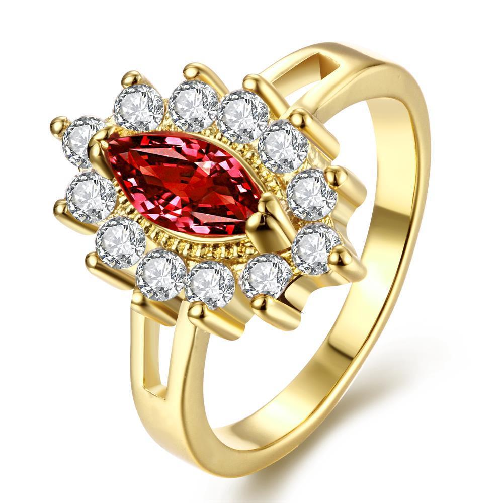 Vienna Jewelry Gold Plated Floral Ruby Red Gem Ring