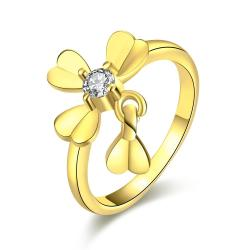 Vienna Jewelry Gold Plated Petite Clover Ring - Thumbnail 0