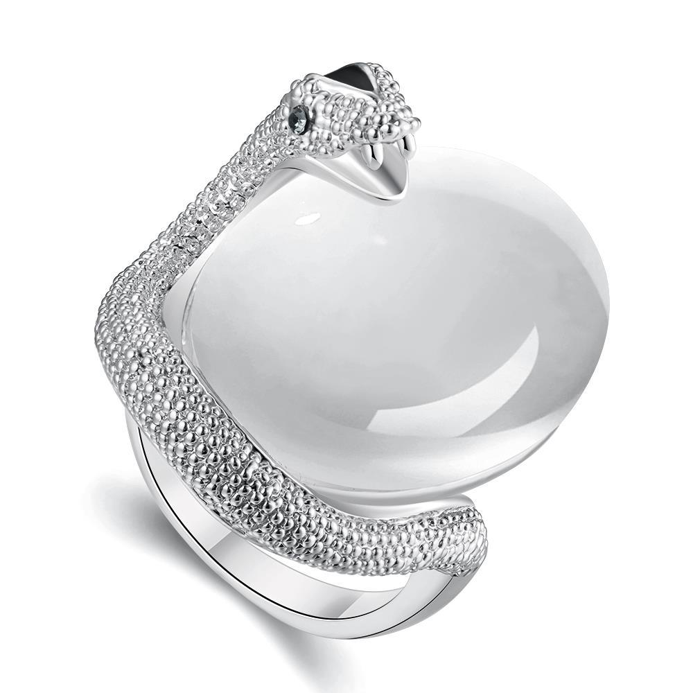 Vienna Jewelry White Gold Plated Snake Egg Inspired Ring Size 8