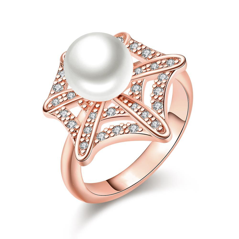 Vienna Jewelry Rose Gold Plated Pearl Infusion Ring