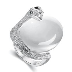 Vienna Jewelry White Gold Plated Snake Egg Inspired Ring Size 8 - Thumbnail 0
