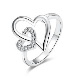 Vienna Jewelry White Gold Plated Hollow Double Hearts Ring - Thumbnail 0