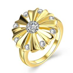 Vienna Jewelry Gold Plated Blossoming Crystal Ring - Thumbnail 0