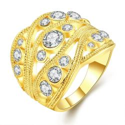 Vienna Jewelry Gold Plated Crystal Inline Geo Ring Size 8 - Thumbnail 0