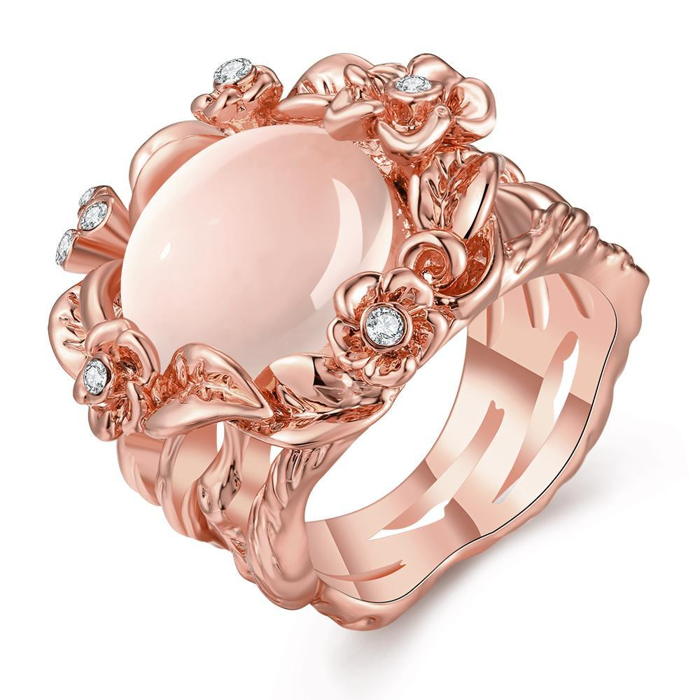 Vienna Jewelry Rose Gold Plated Floral Spiral Ivory Onyx Ring Size 8