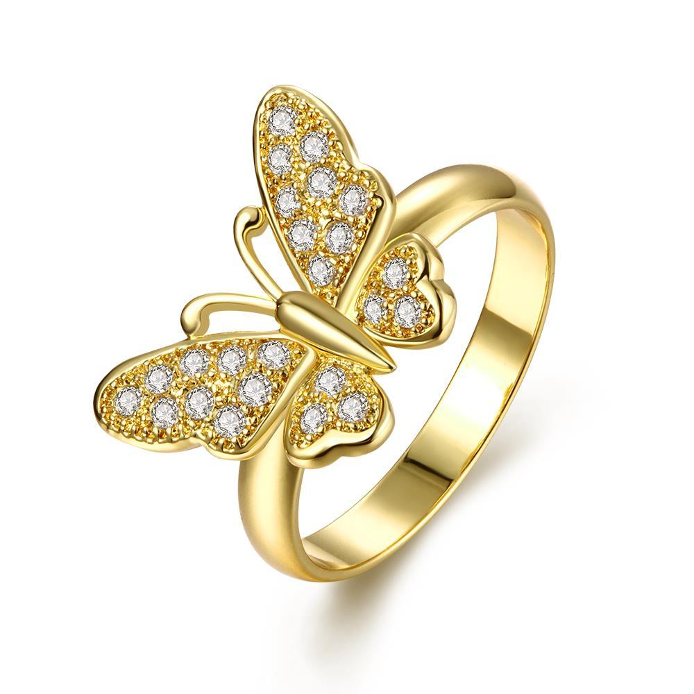 Vienna Jewelry Gold Plated Flying Butterfly Ring