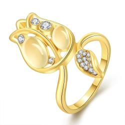 Vienna Jewelry Gold Plated Floral Orchid Covered with Jewels Ring Size 8 - Thumbnail 0