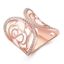 Vienna Jewelry Rose Gold Plated Curved Crown Circular Ring Size 8 - Thumbnail 0