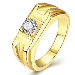 Vienna Jewelry Gold Plated Crystal Channel Band Ring - Thumbnail 0