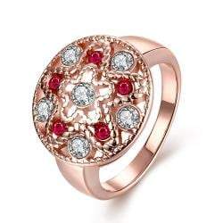 Vienna Jewelry Gold Plated Petite Ruby Gem Ring - Thumbnail 0