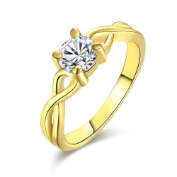 Vienna Jewelry Gold Plate Petite Crystal Jewel Ring - Thumbnail 0