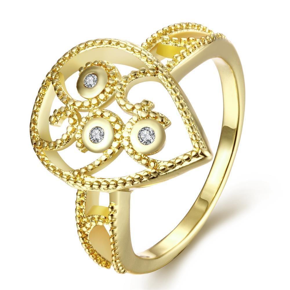 Vienna Jewelry Gold Plated Trio-Diamond Shaped Ring