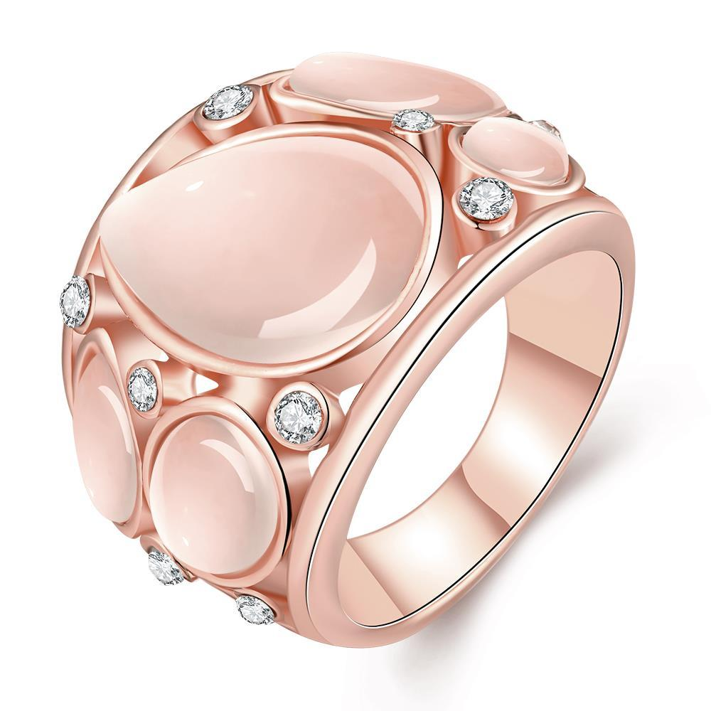 Vienna Jewelry Rose Gold Plated Mid Size Ivory Onyx Ring Size 8