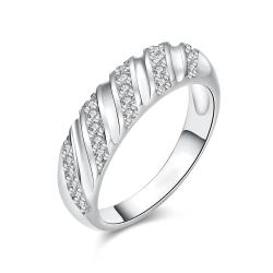 Vienna Jewelry White Gold Plated Angular Curved Ring - Thumbnail 0
