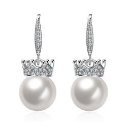 Vienna Jewelry Cultured Pearl Lined Classic Drop Earrings