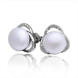Vienna Jewelry Cultured Pearl Triangular Shaped Stud Earrings