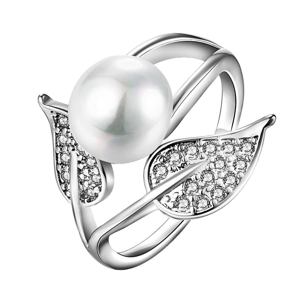 Vienna Jewelry White Gold Plated Cultured Pearl Duo-Leaf Ring