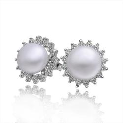 Vienna Jewelry Cultured Pearl Clover Stud Earrings