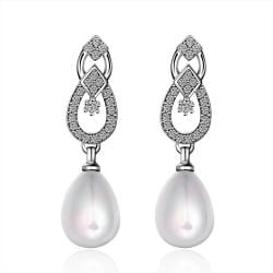 Vienna Jewelry Cultured Pearl Duo Overlaping Dangling Earrings