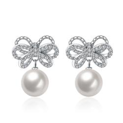 Vienna Jewelry Cultured Pearl Infinite Bow-Tie Earrings