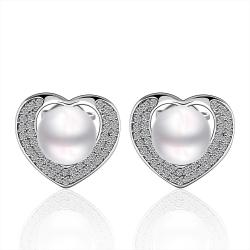 Vienna Jewelry Cultured Pearl Heart Shaped Stud Earrings