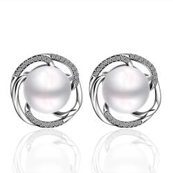 Vienna Jewelry Cultured Pearl Curved Circular Stud Earrings