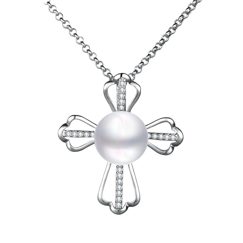 Vienna Jewelry Petite White Gold Plated Cultured Pearl Cross Necklace