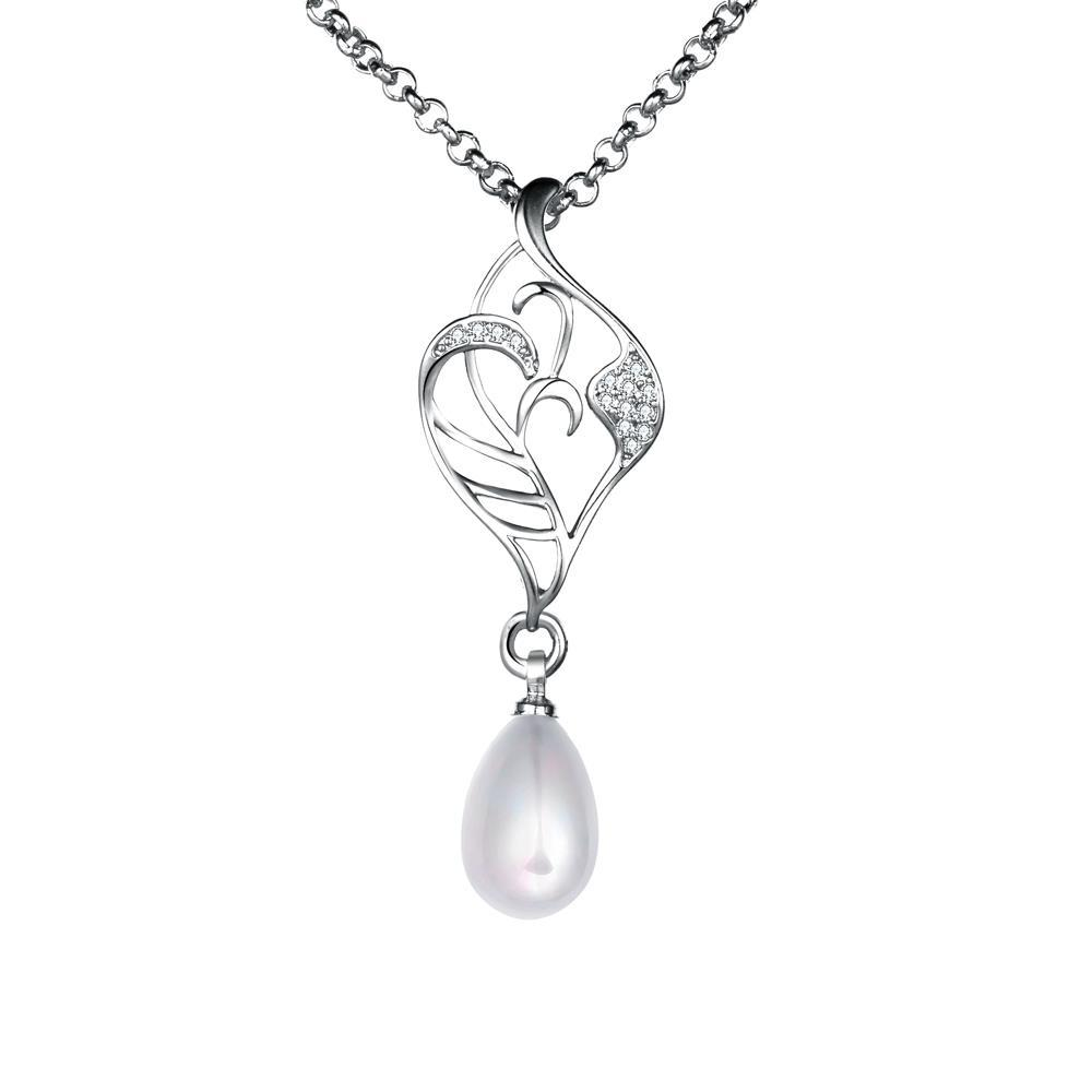 Vienna Jewelry White Gold Coloring Laser Cut Cultured Pearl Emblem Necklace