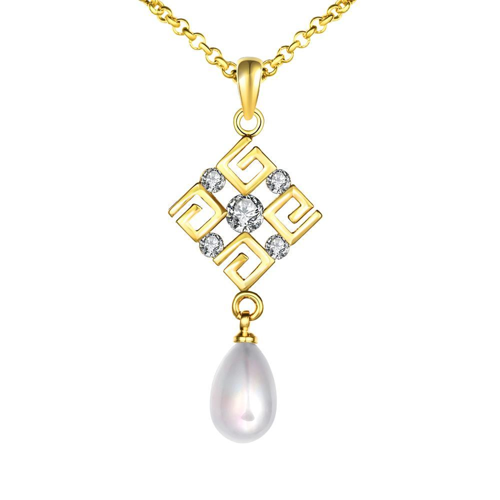 Vienna Jewelry Gold Coloring Diamond Shaped Cultured Pearl Necklace