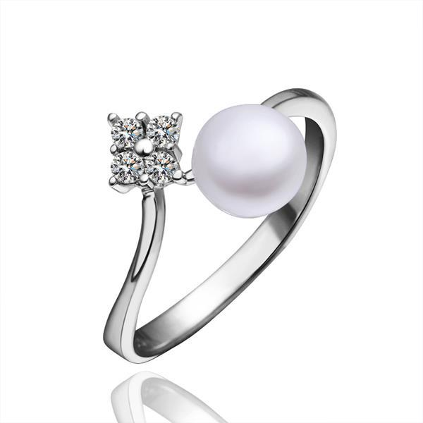 Vienna Jewelry White Gold Plated Cultured Pearl & Jewel Open Ring