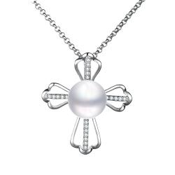 Vienna Jewelry Petite White Gold Plated Cultured Pearl Cross Necklace - Thumbnail 0