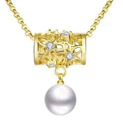 Vienna Jewelry Gold Plated Circular Rolling Pin Cultured Pearl Drop Necklace - Thumbnail 0