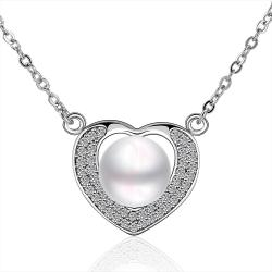 Vienna Jewelry Petite Cultured Pearl Hollow Heart Necklace - Thumbnail 0