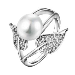Vienna Jewelry White Gold Plated Cultured Pearl Duo-Leaf Ring - Thumbnail 0