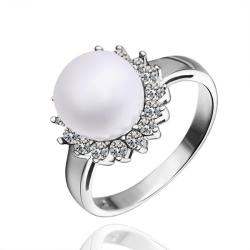 Vienna Jewelry White Gold Plated Cultured Pearl Clover Ring