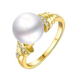 Vienna Jewelry Gold Plated Cultured Pearl Center Ingrain Ring