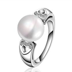 Vienna Jewelry White Gold Plated Cultured Pearl Hearts Infused Ring - Thumbnail 0