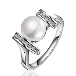 Vienna Jewelry White Gold Plated Cultured Pearl Horizontal Lined Ring - Thumbnail 0
