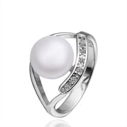 Vienna Jewelry White Gold Open Cultured Pearl Crystal Lined Ring